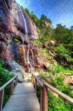 Hickory Nut Falls in Chimney Rock State Park, North Carolina  photo