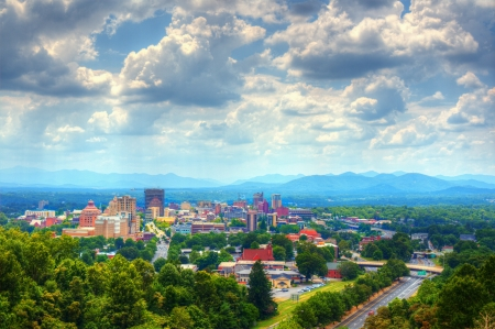 Asheville, North Carolina skyline nestled in the Blue Ridge Mountains  photo
