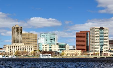 ma: Skyline of Cambridge, Massachusetts from across the Charles River.
