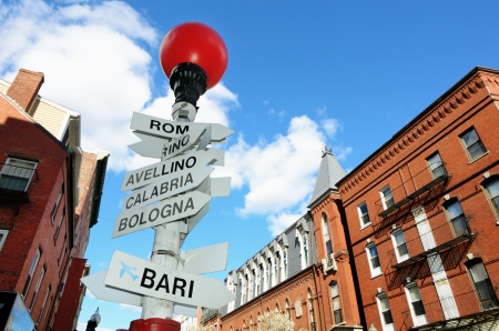 north   end: Sign depicting direction of different Italian Cities in the LIttle Italy section of the North End of Boston, Massachusetts, USA. Stock Photo
