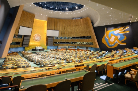 NEW YORK CITY - MAY 21: Interior of the United Nations General Assembly May 21, 2012 in New York, NY.