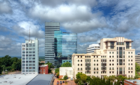 columbia: Skyline of downtown Columbia, South Carolina on Main Sreet. Stock Photo