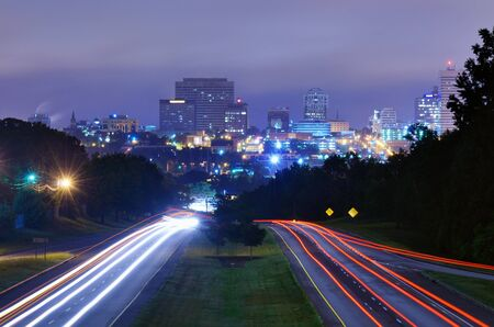 Skyline of downtown Columbia, South Carolina from above Jarvis Kaplan Blvd. Stock Photo
