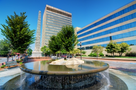 Pack Square in downtown Asheville, North Carolina, USA 新聞圖片