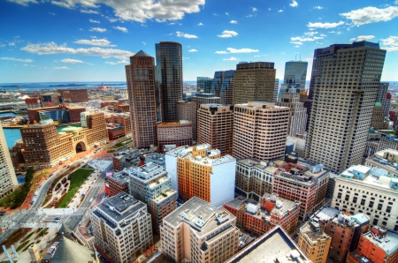boston skyline: Buildings in downtown Boston Massachusetts