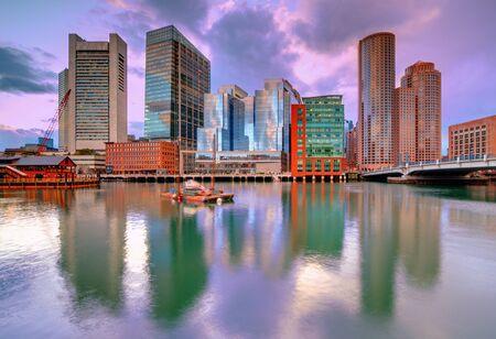 boston cityscape: Skyline of downtown Boston, Massachusetts, USA