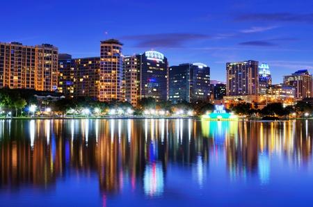 orlando: Skyline of Orlando, Florida from lake Eola.