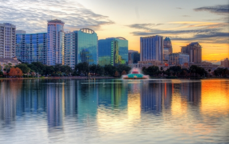 orlando: Skyline of Orlando, Florida from lake Eola.