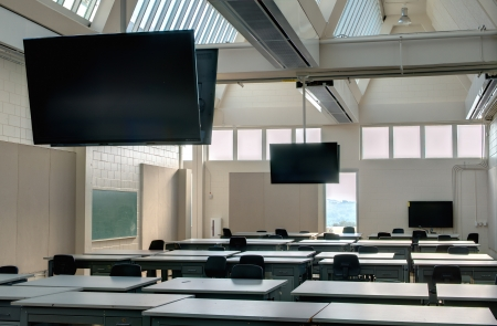 Modern classroom with flatscreen TVs and lots of natural light
