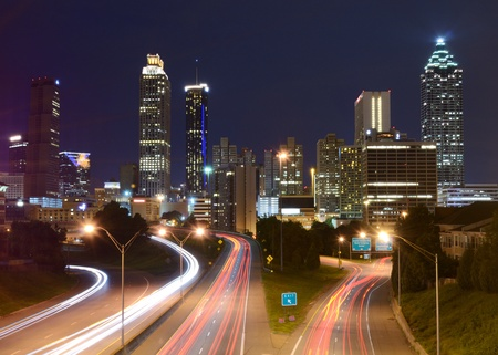 Downtown Atlanta, Georgia from above Freedom Parkway. photo