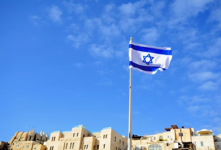 Israeli Flag in Jerusalem, israel photo