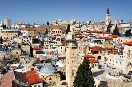 Towers and minarets in Jerusalem, Israel photo