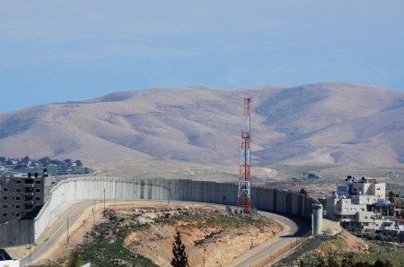 ongoing: The Israel West Bank Barrier, a symbol of the ongoing conflict between Israel and Palestine. Stock Photo