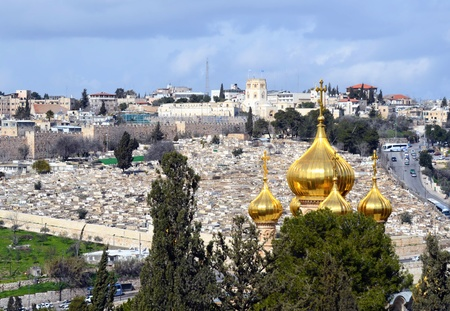 Church of Mary Magdalene  in front of the Jerusalem, Israel cityscape photo