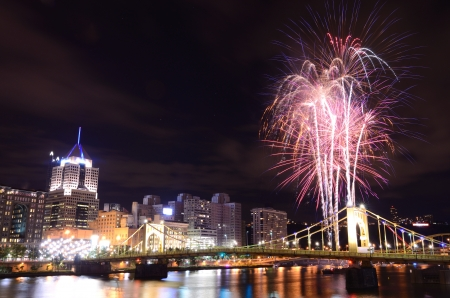 Fireworks on the Allegheny river in downtown  Pittsburgh, Pennsylvania, USA Stock Photo - 14842425