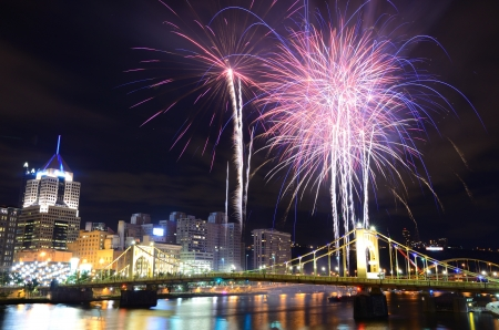 Fireworks on the Allegheny river in downtown  Pittsburgh, Pennsylvania, USA  Stock Photo - 14842432