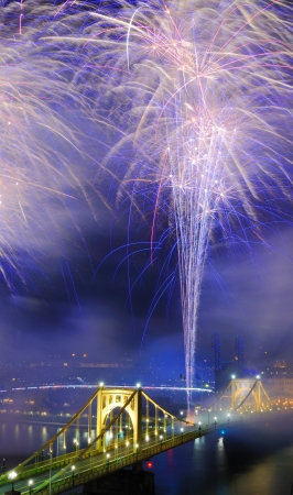 allegheny: Fireworks on the Allegheny river in downtown  Pittsburgh, Pennsylvania, USA  Stock Photo