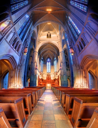 pews: Interior of the interdenominational Heinz Chapel in PIttsburgh, Pennsylvania, USA  Editorial