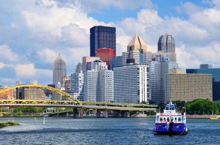 allegheny: Skyscrapers in downtown at the waterfront of PIttsburgh, Pennsylvania, USA  Stock Photo