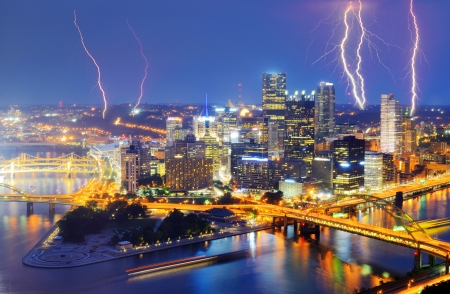 Lightning among skyscrapers in downtown PIttsburgh, Pennsylvania, USA  photo