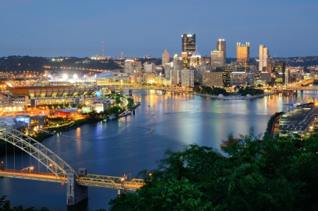 allegheny: West End Bridge and downtown PIttsburgh, Pennsylvania, USA. Stock Photo