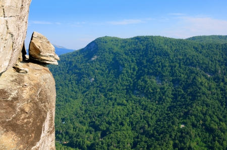 north carolina: Devils Head balancing rock at Chimney Rock Park near Asheville, North Carolina, USA.