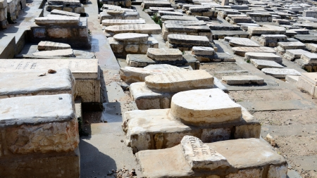 judaic: Judaic graves on Mt of Olives in Jerusalem, Israel