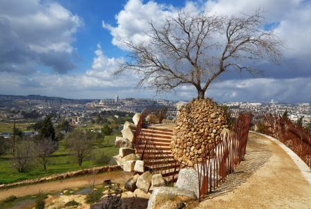 Park in Jerusalem, Israel overlooking the city.