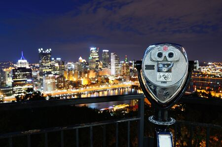 Binoculars for viewing the Pittsburgh, Pennsylvania skyline. photo