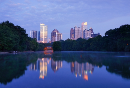 midtown: Midtown Atlanta, Georgia Skyline from Piedmont Park Stock Photo
