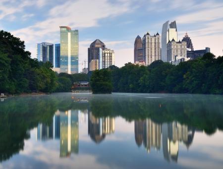 Midtown skyline as seen from Piedmont Park in Atlanta, Georgia, USA