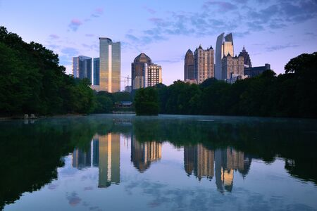 Midtown skyline as seen from Piedmont Park in Atlanta, Georgia, USA photo