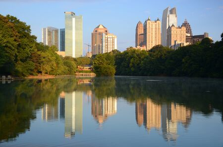 Midtown skyline as seen from Piedmont Park in Atlanta, Georgia, USA