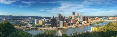 Panorama of downtown Pittsburgh, Pennsylvania, USA at Allegheny River