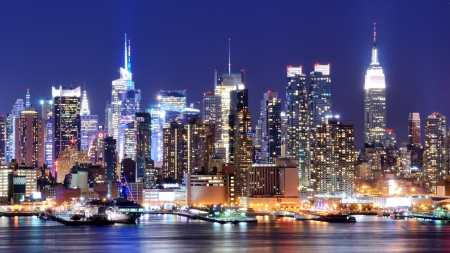 Skyline and modern office buildings of Midtown Manhattan viewed from across the Hudson River  photo