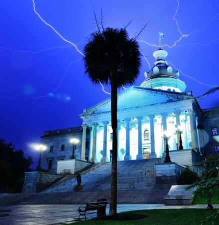 Lightning strikes above South Carolina State House in Columbia, South Carolina, USA. photo