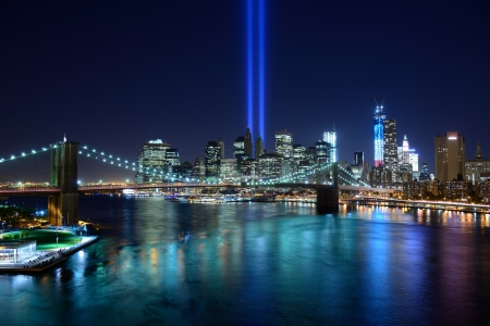 Tribute in Light in Downtown New York City in rememberance of the tragedy of 9 11