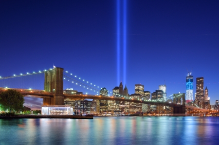downtown manhattan: Tribute in Light in Downtown New York City in rememberance of the tragedy of 9 11