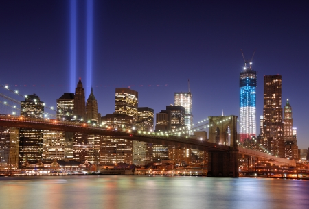 world trade center: Tribute in Light in Downtown New York City in rememberance of the tragedy of 9 11