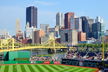 Pittsburgh, Pennsylvania - August 14, 2012: Pirates play the Arizona Diamond Backs at PNC Stadium with the central business district in the the background.