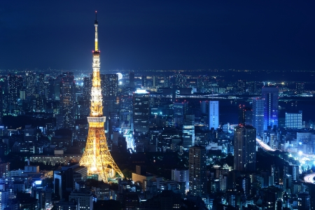 Nighttime view of Tokyo Tower in Tokyo, Japan Editorial