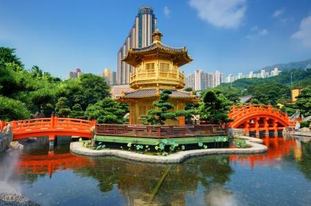 perfection: Golden Pavilion of Perfection in Nan Lian Garden, Hong Kong, China.