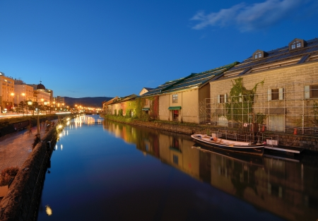 hokkaido: Historic Otaru Canals in Otaru, Hokkaido Prefecture, Japan.