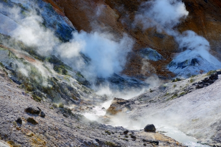 dani: Jigokudani, known in English as Hell Valley&quot, is the source of hot springs for many local Onsen Spas in Noboribetsu, Hokkaido, Japan. Stock Photo