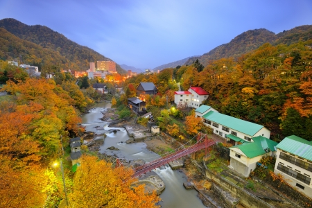 The Hot Springs resort town of Jozankei in the northern island of Hokkaido, Japan.