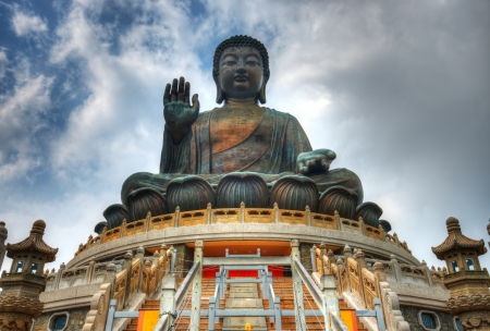 Tian Tan Buddha (Great Buddha) is a 34 meter Buddha statue located on Lantau Island in Hong Kong. photo