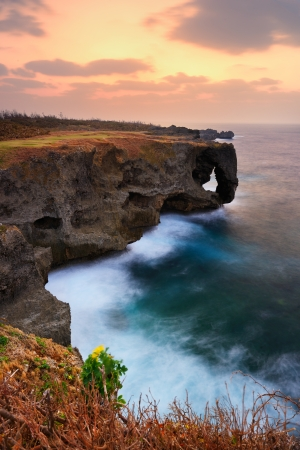 Manzamo, a famed coral reef cliff in Okinawa, Japan.