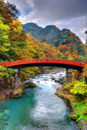 foot bridge: Shinkyo Bridge in Nikko, Japan. Stock Photo