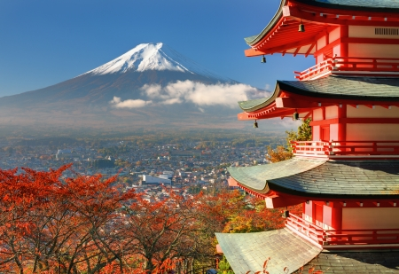 fuji: Mt. Fuji viewed from behind Chureito Pagoda. Stock Photo