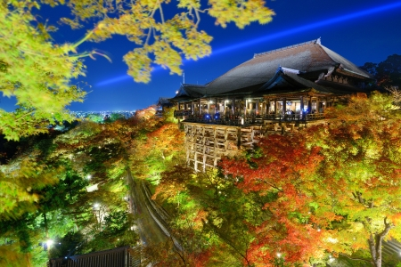 kyoto: Kyoto, Japan - November 19, 2012: Tourists atop the famed stage at Kiyomizu Dera during the annual fall light show. The temple is one of Japans most celebrated holy sites.